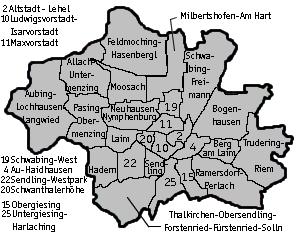 Karte Stadt München mit Stadtteilen (c) familienfreunde.de