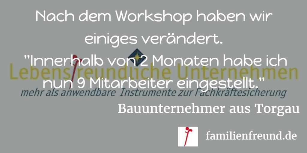 Feedback Bauunternehmer lebensfreundlich Workshop