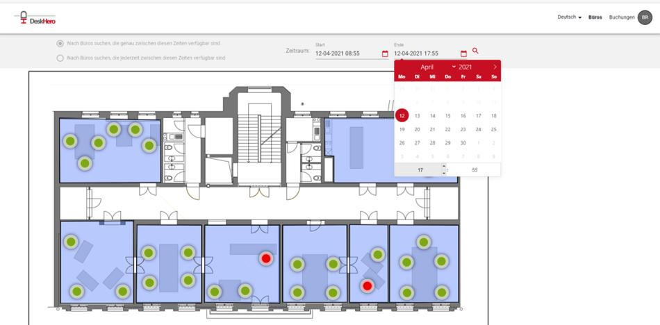 Platzbelegung mit DeskHero Screenshot